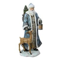 "10"" Joseph's Studio Blue and White Santa Claus with Deer Christmas Tabletop Figure"