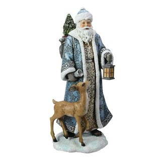 "10"" Josephs Studio Blue and White Santa Claus with Deer Christmas Tabletop Figure"