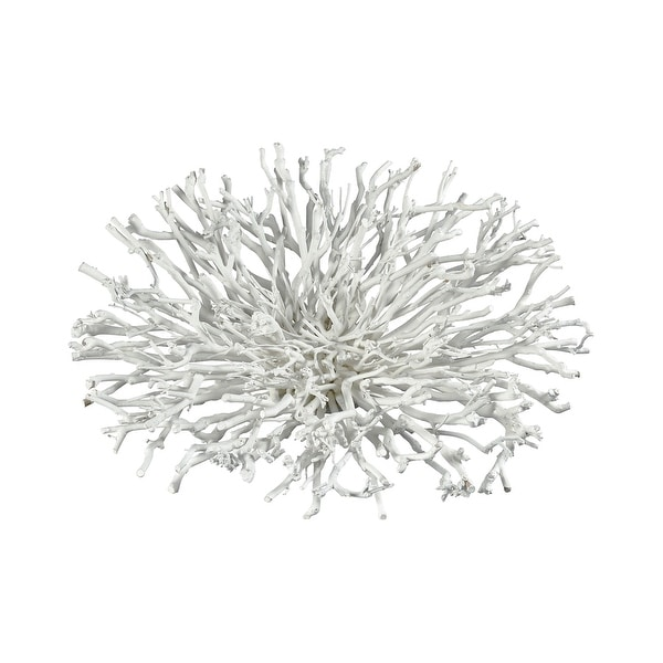 "4"" White Wistmans Wood Botanical Hemisphere Decorative Accessory - N/A"