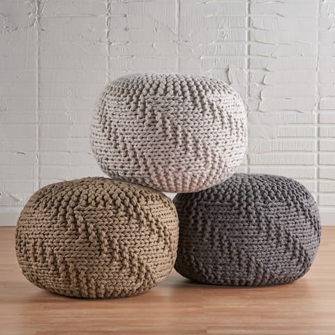 Hazel Indoor Handcrafted Modern Fabric Pouf by Christopher Knight Home