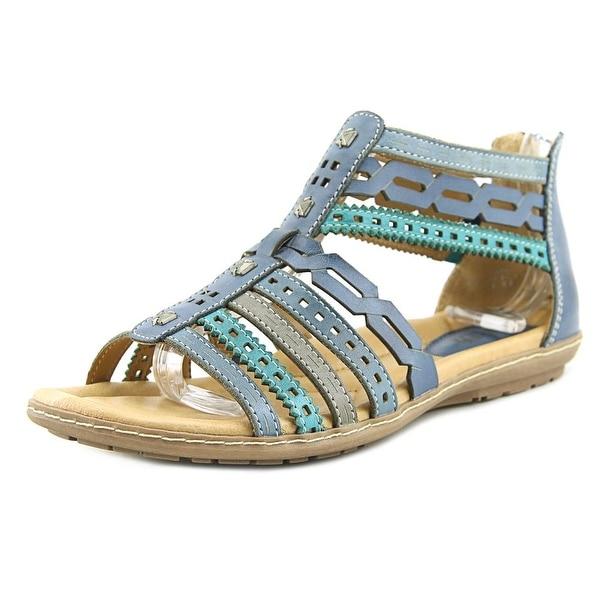 Earth Bay Women Open Toe Leather Blue Gladiator Sandal