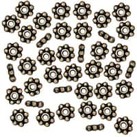 TierraCast Brass Oxide Finish Pewter Daisy Spacer Beads 4mm (50)