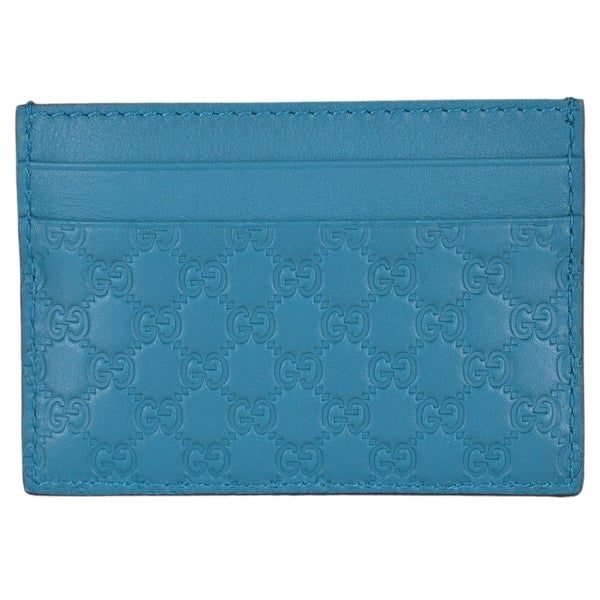"Gucci 476010 Cobalt Turquoise Leather Micro GG Guccissima Small Card Case - 4"" x 2.75"""