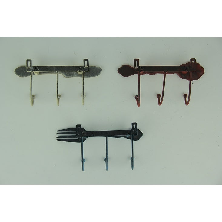 Distressed Metal Kitchen Cutlery Wall Hook Racks Set of 3 - 3.5 X 6.75 X  1.5 inches