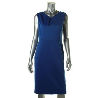 Ellen Tracy Womens Petites Solid Sleeveless Casual Dress