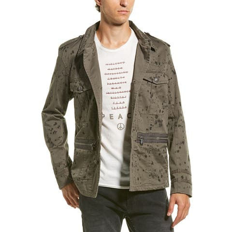John Varvatos Star U.S.A. Ink Drop Stained Officers Field Jacket - 013 COAL