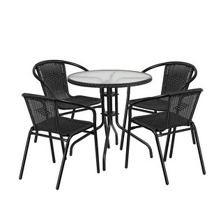 Offex 28'' Round Glass Metal Table with Black Rattan Edging and 4 Black Rattan Stack Chairs