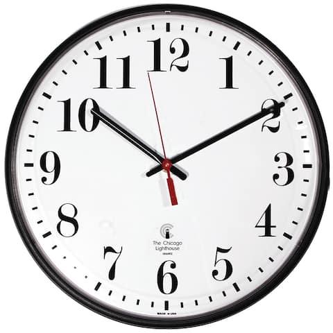 Chicago lighthouse 12.75in black atomic clock std num 67300302