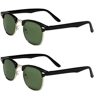 Set of 2 Pairs - Classic Clubmaster Style Sunglasses