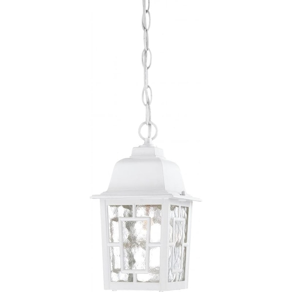 """Nuvo Lighting 60/4931 Banyon 1-Light 6-1/8"""" Wide Outdoor Mini Pendant with Water Glass Shade - White - N/A"""