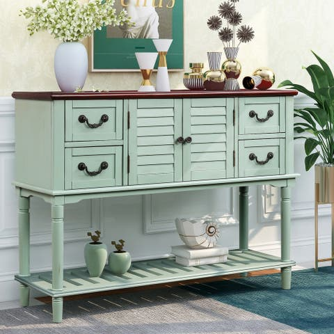 Entryway Console Table Sideboard with 4 Storage Drawers