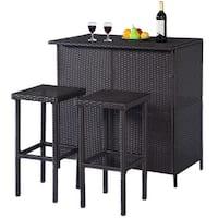 Costway 3PCS Rattan Wicker Bar Set Patio Outdoor Table & 2 Stools Furniture Brown