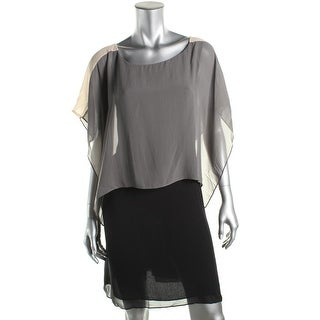 Eileen Fisher Womens Petites Party Dress Silk Colorblock - pl
