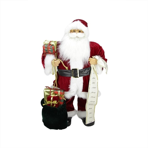 """32"""" Traditional Standing Santa Claus Christmas Figure with Name List and Gift Bag - RED"""