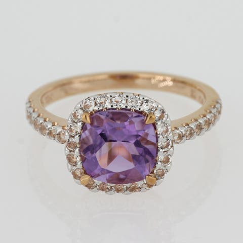 Cushion-cut Amethyst and White Topaz Halo Cocktail Ring in 10k Rose Gold by Miadora
