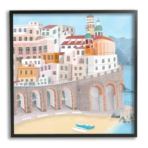 Stupell Industries Atrani Architecture Seaside Italian City Buildings Framed Wall Art - Multi-Color