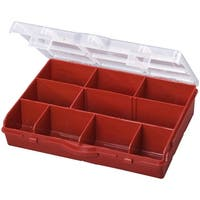 Stack-On SBR-10 10-Compartment Storage Box with Removable Dividers, Red