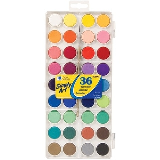 Simply Art Watercolor Paint Cakes 36/Pkg-Assorted Colors