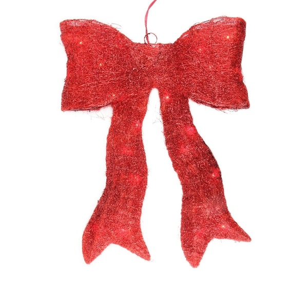 "18.5"" Lighted Sparkling Red Sisal Bow Christmas Outdoor Decoration"