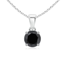 Round Black Diamond Solitaire Necklace Pendant in 14K White Gold