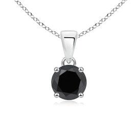 Round Black Diamond Solitaire Necklace Pendant in 14K White Gold