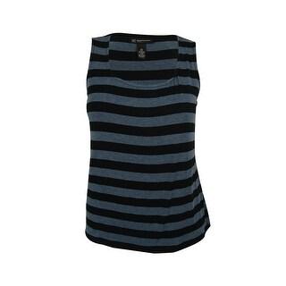 INC International Concepts Women's Striped Tank Top - black/heather blue