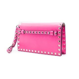 Valentino Womens Rockstud Hot Pink Flap Wristlet Clutch Bag - hot pink