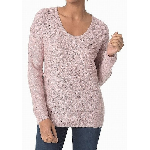 NYDJ Pink Womens Size Large L Sequinced Scoop Neck Knitted Sweater