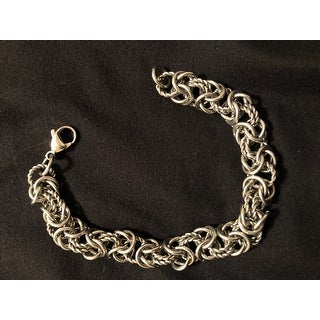 High Polish Intricate Byzantine Stainless Steel Bracelet - Silver