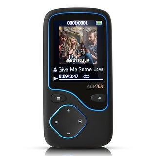 AGPTek 8GB Portable Bluetooth Lossless MP3 Player w/ FM Radio Support up to 64GB Black