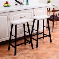 Costway Set of 2 Saddle Seat 29'' Bar Stools Wood Bistro Dining Kitchen Pub Chair White - Black & White