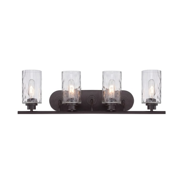 Designers Fountain 87104 Gramercy Park 4 Light Bathroom Fixture with Blown Hammered Glass Shades
