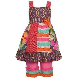 Little Girls Multi Color Floral Dot Trim Detail Dress 2 Pc Pant Set