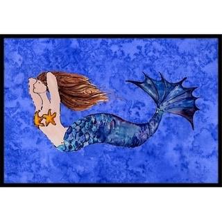 Carolines Treasures 8725MAT Brunette Mermaid On Blue Indoor & Outdoor Mat 18 x 27 in.