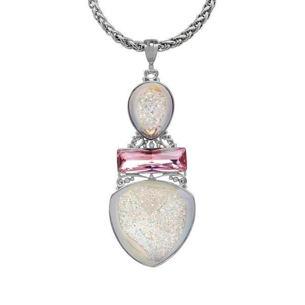 Crystaluxe Sajen Snow Druzy Quartz Pendant with Swarovski Crystals in Sterling Silver