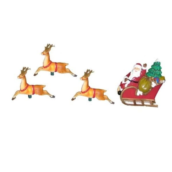 Set of 10 Santa Sled and Reindeer Christmas Lights - Green Wire