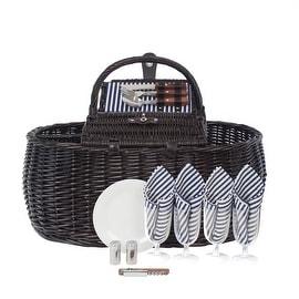 Zelancio 4 Person Picnic Basket Set Dual Lid Design Large Service for Four Beach Park and Backyard