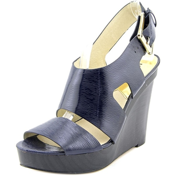 98add2983b5a Michael Michael Kors Carla Platform Wedge Women Open Toe Blue Wedge Sandal
