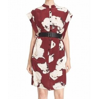 Tracy Reese NEW Red Women's Size XS Floral Belted Shirt Dress Silk