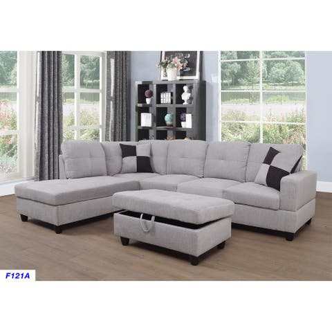 3-Pieces Sectional Sofa Set,Left Facing,Grey White Flannelette(121A)