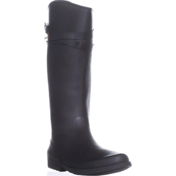 Tommy Hilfiger Coree Tall Two-Tone Rain Boots, Black