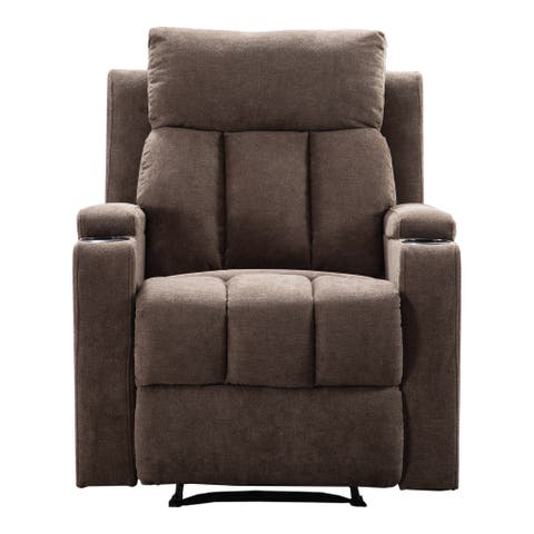 Fabric Recliner Chair with 2 Cup Holders Contemporary Theater Seating Padded Single Sofa