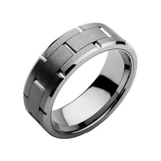 INOX Jewelry Stainless Steel Tungsten Carbide and Ceramic Ring