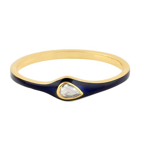 Natural Pave Diamond Designer Band Ring 14k Yellow Gold Enamel Jewelry