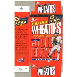 John Elway unsigned Denver Broncos Mini Wheaties Box (Flat) Commemorative Box unused