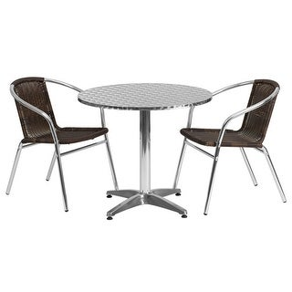 """Offex 31.5"""" Round Aluminum Indoor-Outdoor Table With 2 Rattan Chairs"""