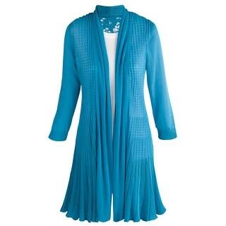 Women's Lightweight Cardigan - Lace Back Extra Long - Turquoise Blue - MEDIUM