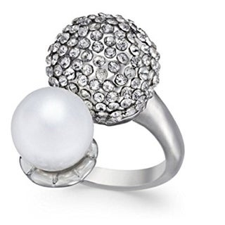 Inc International Concepts Silver-Tone Pave Dome and Imitation Pearl Ring - Silver