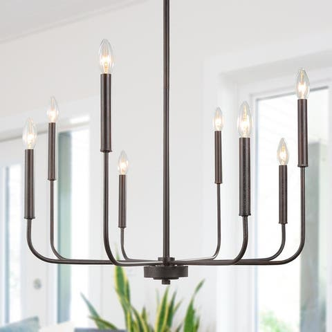 """Modern Farmhouse 8-light Black Candle Metal Chandelier for Dining Room - L26.8""""X W26.8"""" X H35.4"""""""