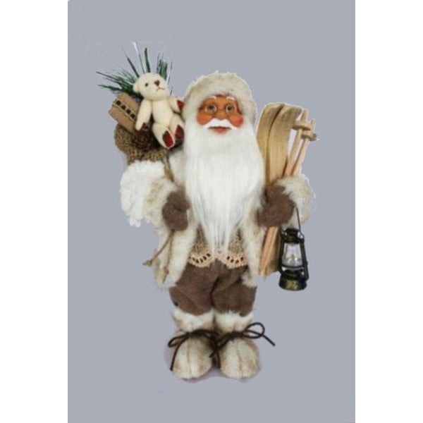 """13"""" Alpine Chic Beige and White Skiing Santa with Gift Bag and Lantern Decorative Christmas Figure"""